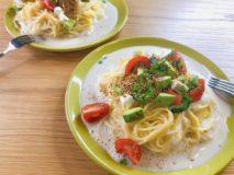 減塩レシピ アボカドとトマトの豆乳クリーム冷製パスタ